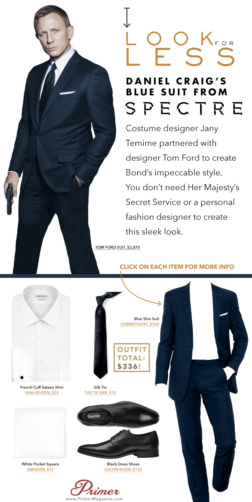 Daniel Craig wearing a navy suit and tie in spectre with affordable alternatives