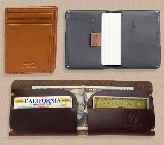 A variety of wallets on a table
