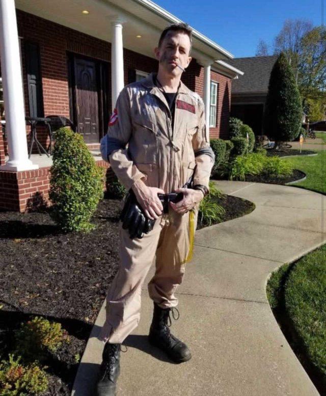 TouringPlanDad blogger wearing ghostbuster halloween costume from Primer Magazine