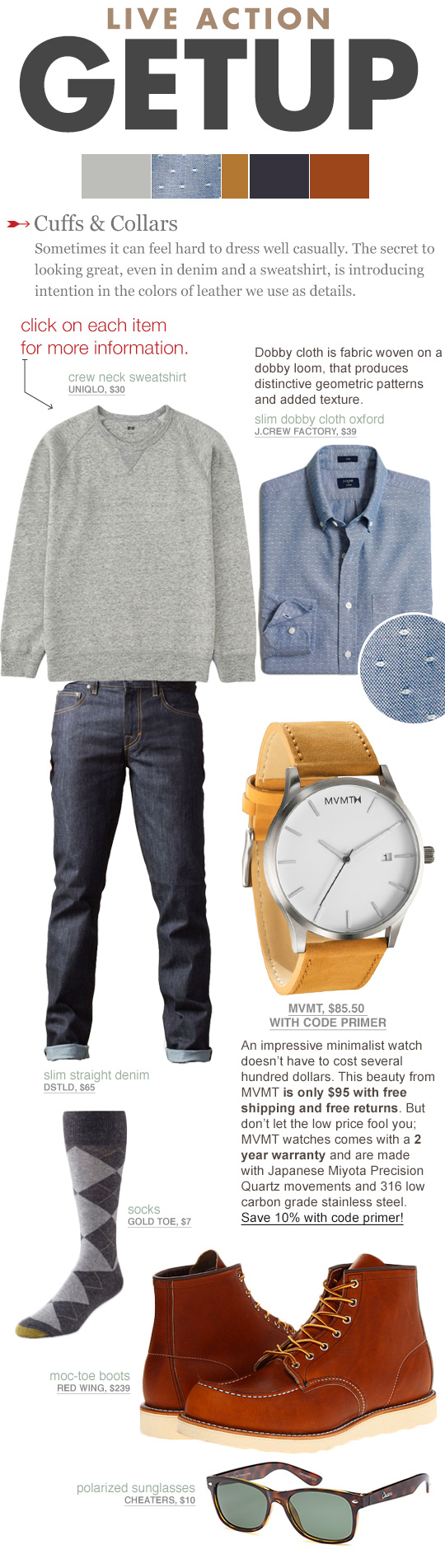 Getup outfit inspiration - gray sweatshirt, blue shirt, jeans, tan watch