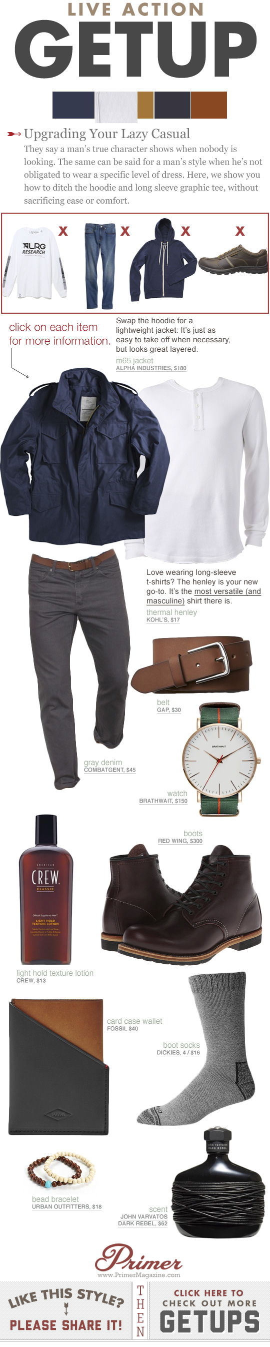 Getup - Upgrading Lazy Casual - with Blue military jacket, henley, and gray jeans