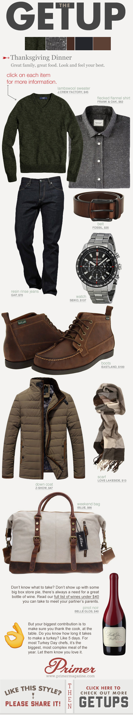 Getup outfit inspiration with green sweater, jeans, and moc toe boots