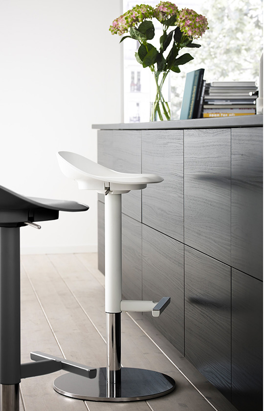 White and black stools