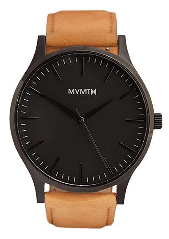 Black MVMT watch with tan strap