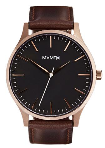 Black MVMT watch with Gold hands