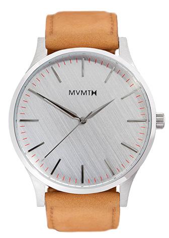 Silver MVMT watch with tan bracelet