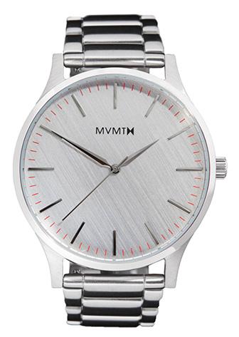 Silver MVMT watch with red ticks