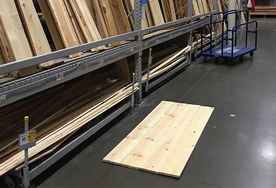 Lining up boards on floor