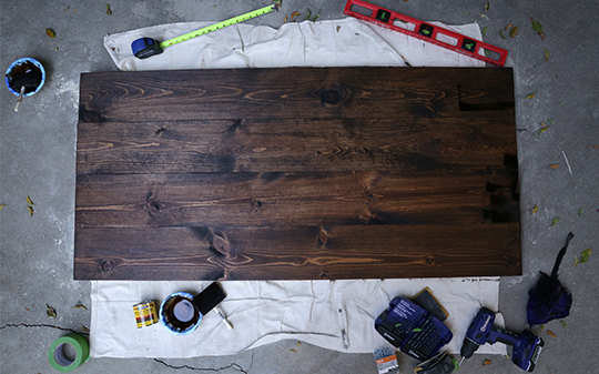 DIY headboard stain