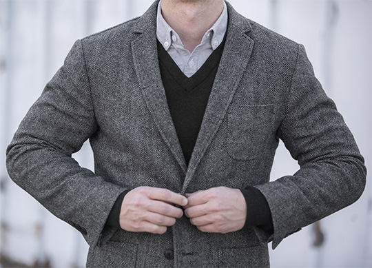 herringbone blazer, black sweater