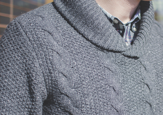 Chunky cable knit shawl collar sweater