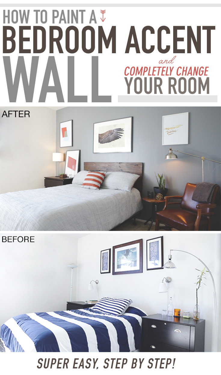 How to paint a bedroom accent wall and completely change your room primer part 2 for How much to paint a two bedroom apartment
