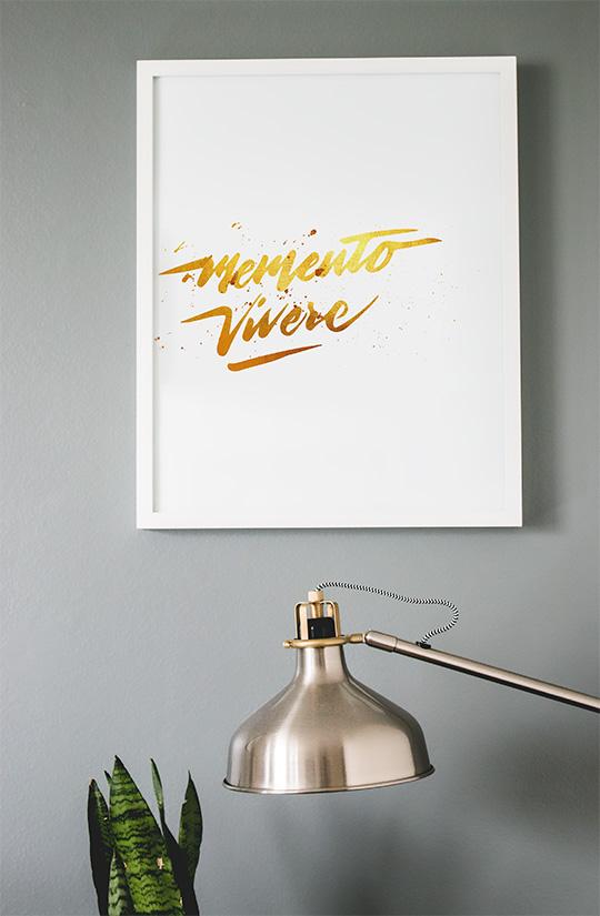 Modern art memento vivere free art print in frame