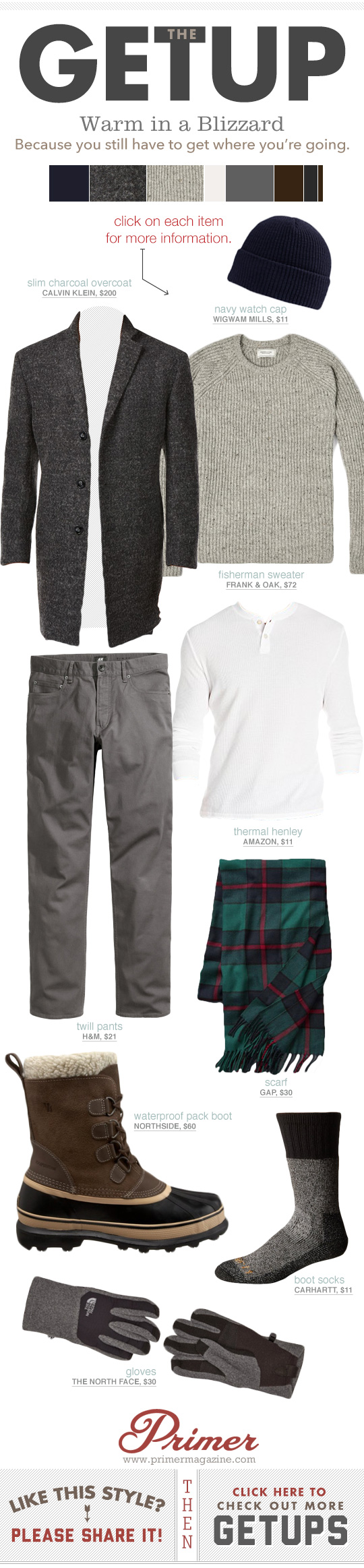 Men's winter cold weather outfit