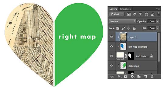 Coração de mapa faça você mesmo com paleta de camadas