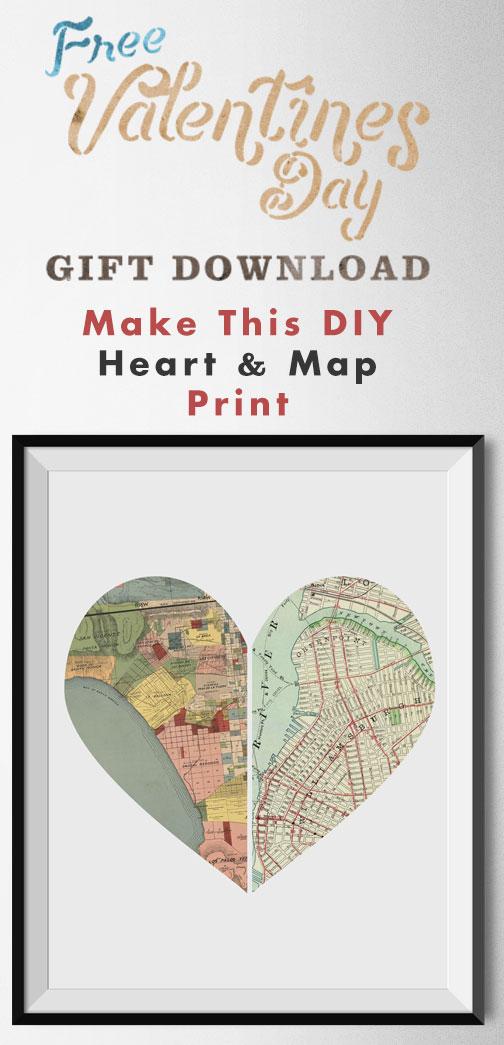 Idéia de presente de Dia dos Namorados DIY Como fazer esta impressão de coração e mapa!