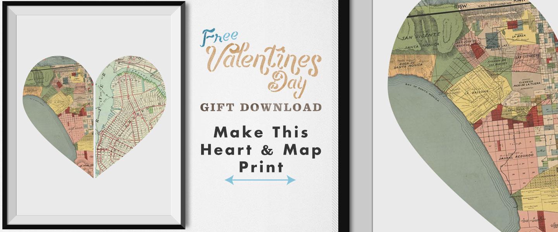 Free DIY Valentine Gift – Heart Printable: Make This Heart Shaped Map Print!