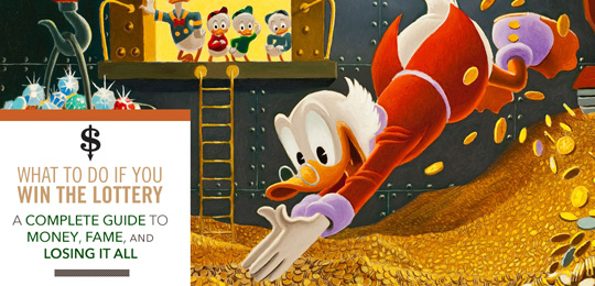 Scrooge jumping into gold coins while boys watch on