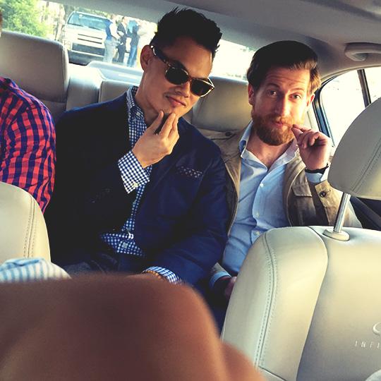 Tanner Guzy and Barron Cuadro sitting in a car