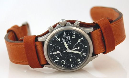 phase mechanical indicator leather strap watch gents made power moon watches reserve swiss