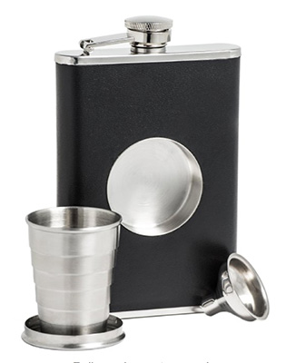 Collapsible flask with shot glass