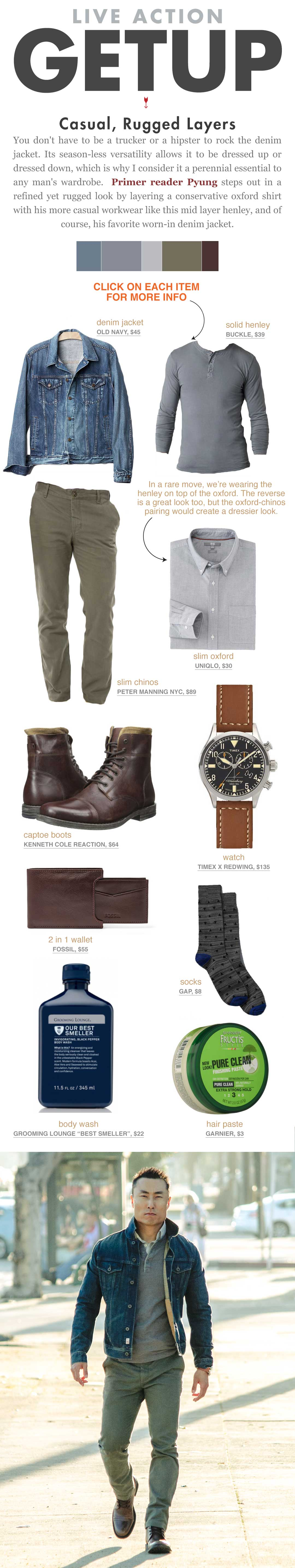 Casual Rugged Layers Getup - Denim jacket, henley, button up shirt, olive chinos and boots
