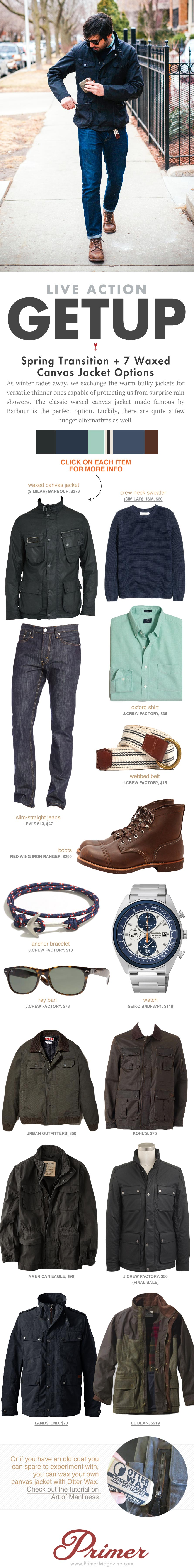 Getup Spring Transition - Jacket, oxford shirt, slim jeans, and Iron Ranger boots