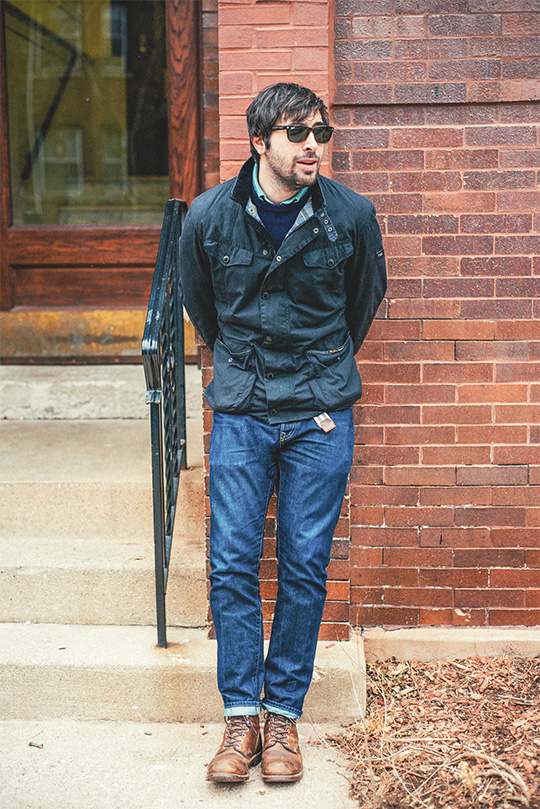 men's spring outfit inspiration - Barbour waxed canvas jacket
