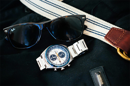 Seiko watch - Ray Ban New Wayfarer - Web Belt