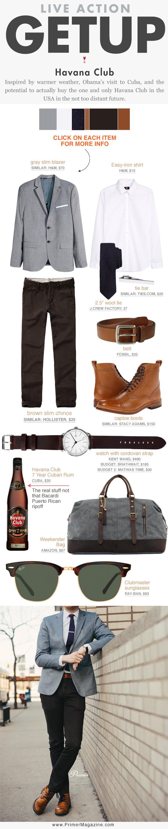 Getup Havana Club - Gray blazer, white shirt and tie, brown pants, and tan boots