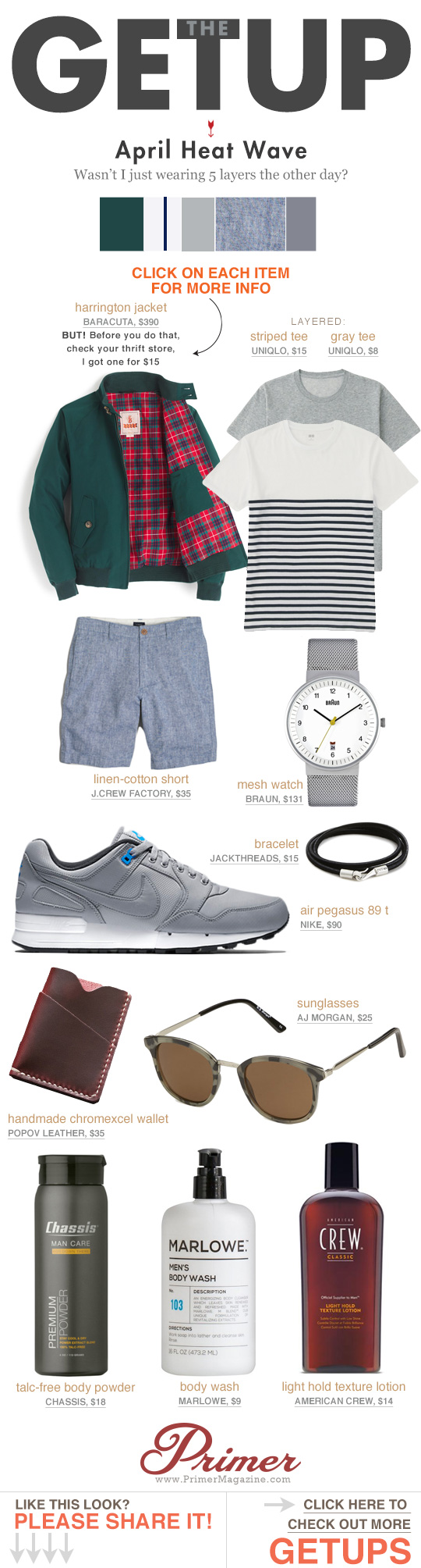 The Getup - April Heat Waves - summer outfit inspiration featuring green jacket, striped shirt, and sneakers
