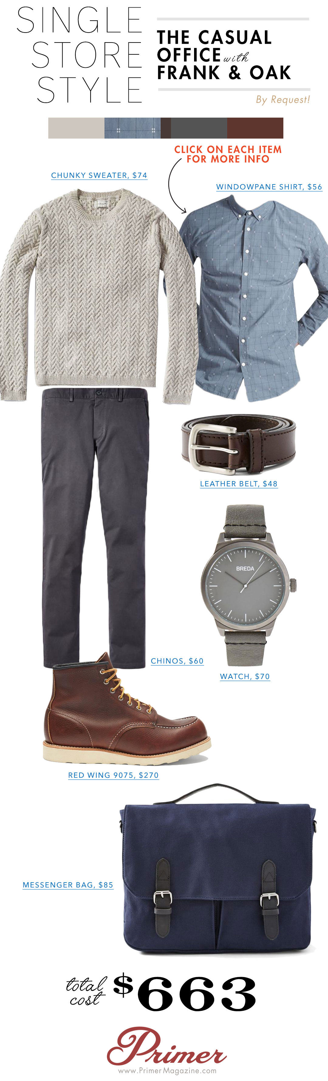 Single Store Style Frank and Oak - Gray sweater, blue shirt, gray pants and boots