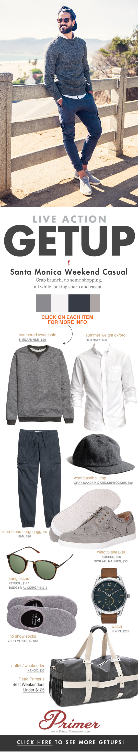 The Getup Santa Monica Weekend Casual - outfit inspiration featuring sweatshirt and chinos
