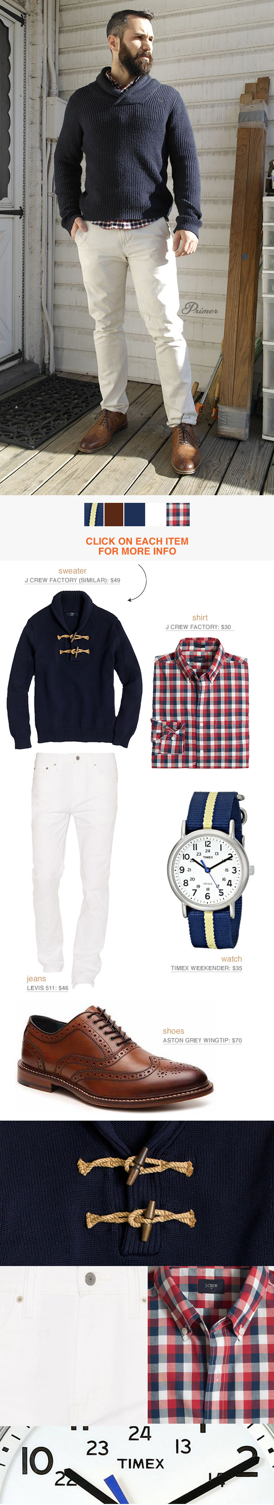 An outfit example featuring white jeans, blue sweater, and red plaid shirt