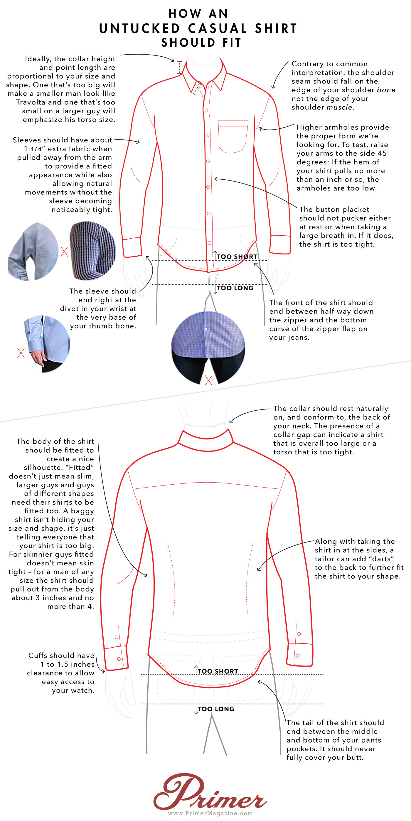 7a19684fb21 How an Untucked Casual Shirt Should Fit - A Visual Guide