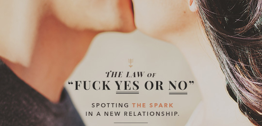 "Spotting the Spark in a New Relationship: The Law of ""Fuck Yes or No"""