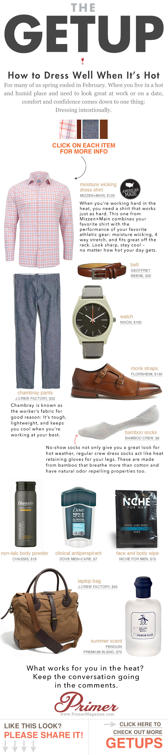 The Getup How to Dress Well When It\'s hot - outfit inspiration featuring tech fabrics and brown shoes