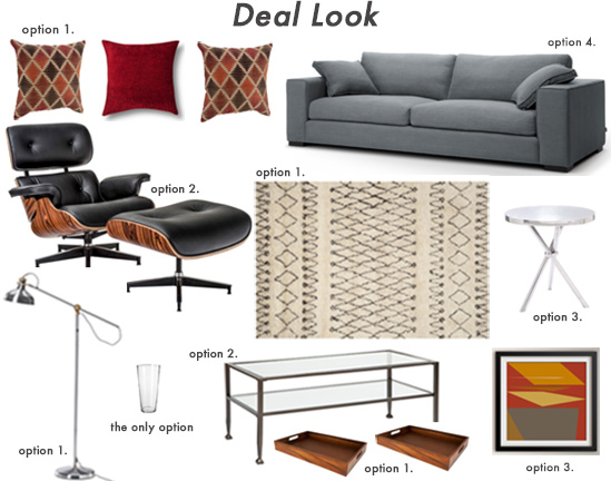 A collage of living room items including a couch, chair, table, rug, and light