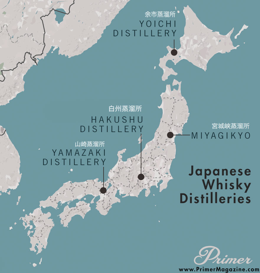 Japanase Whisky Distilleries map