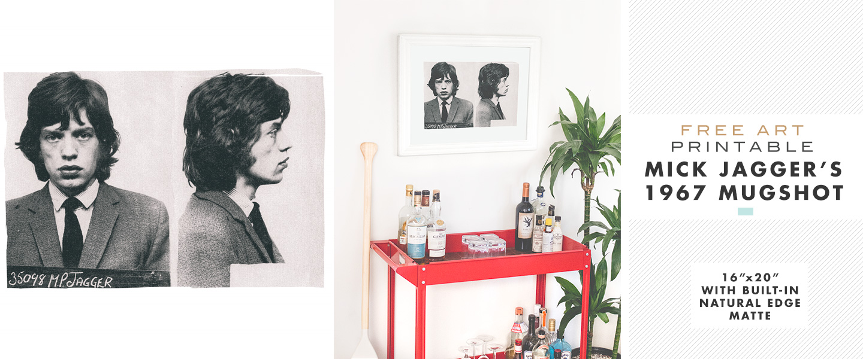 Free Art Printable: Mick Jagger's 1967 Mugshot