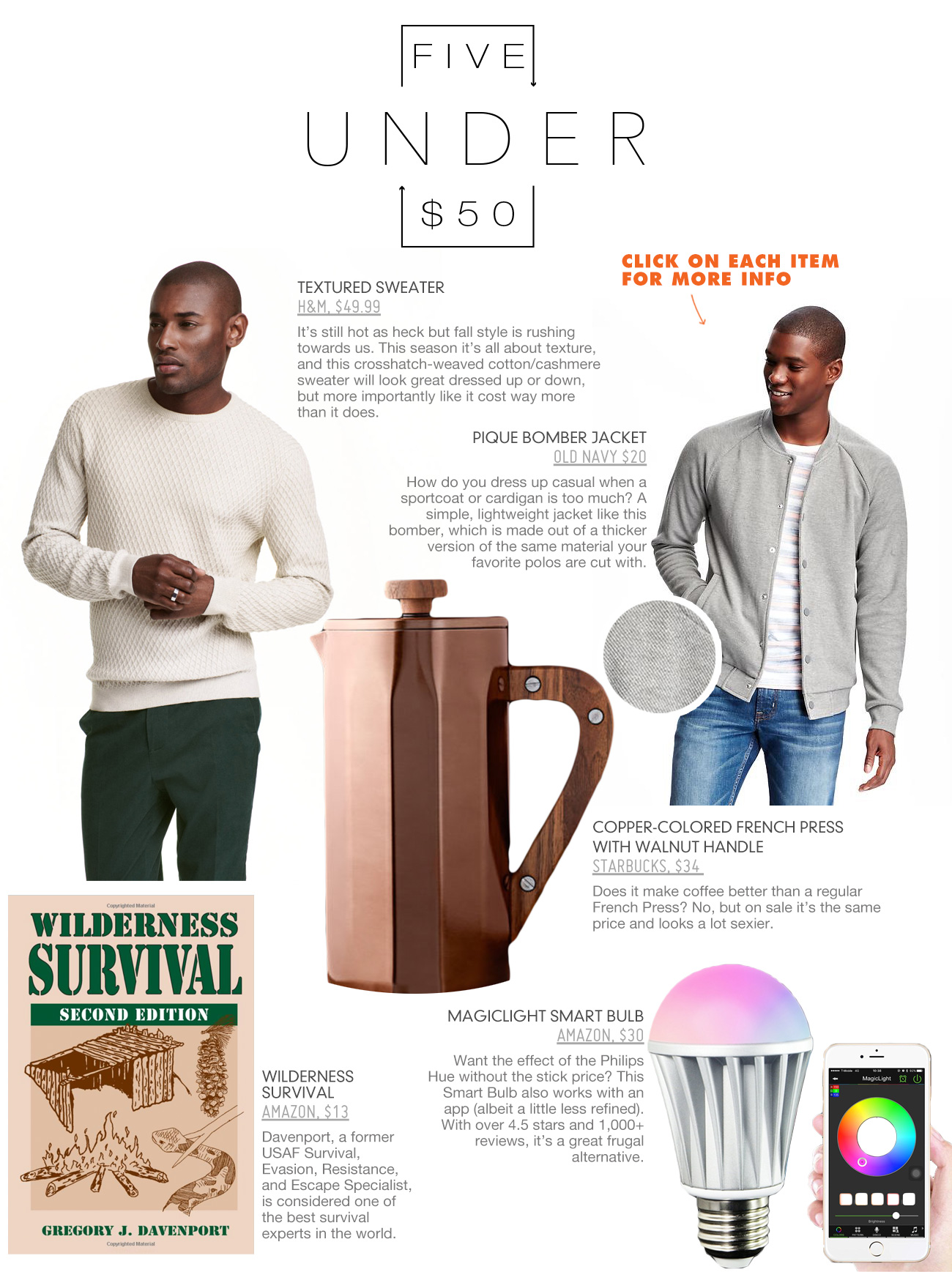 5 under 50 including sweater, bomber jacket, french press, book, and led light