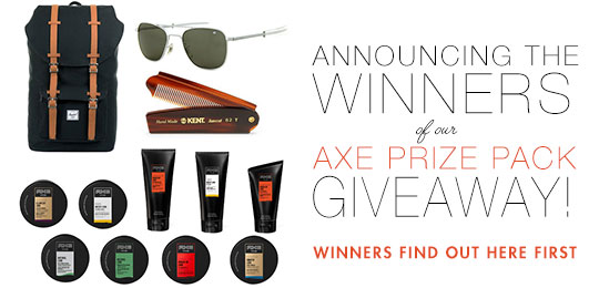 Announcing the 3 Winners of Our Axe Prize Pack Giveaway!