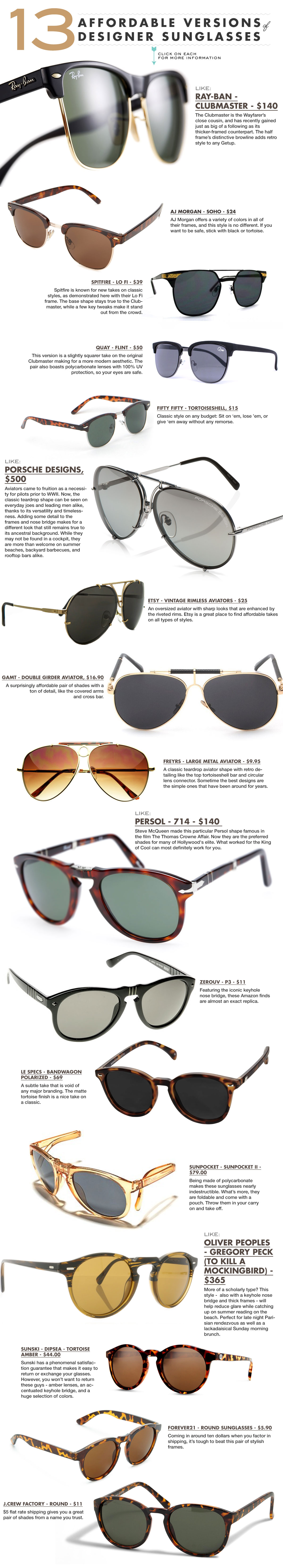 affordable versions of designer sunglasses