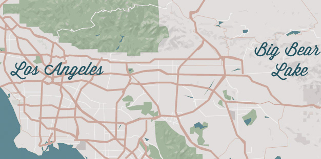 Big Bear from Los Angeles Map
