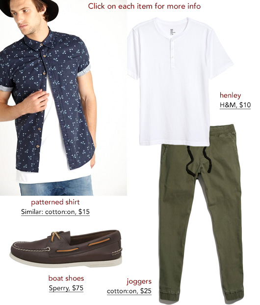 Outfit made out of green jogger pants and boat shoes