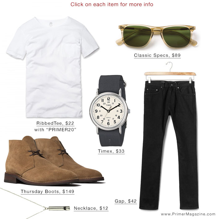 White t-shirt black jeans outfit inspiration