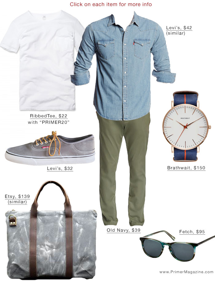 White pocket tee outfit inspiration denim shirt