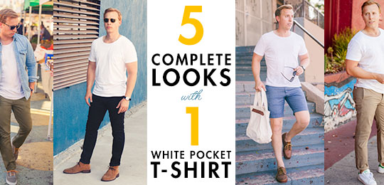 5 complete looks with 1 pocket t-shirt