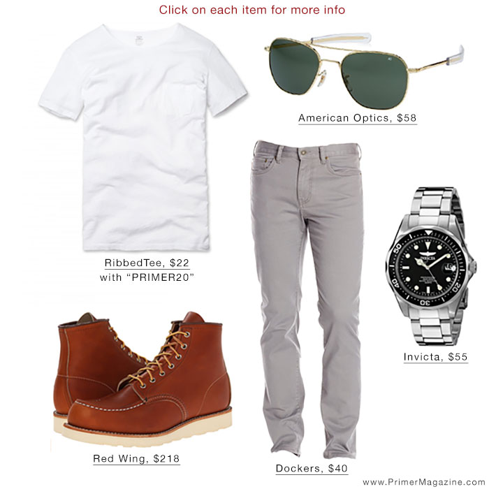 White T-Shirt Outfit - Red Wing Dockers