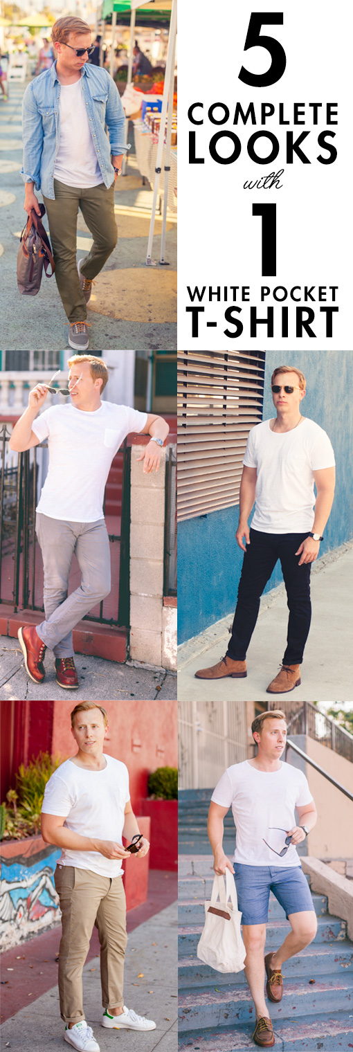 5 Complete Looks with 1 White Pocket T-Shirt